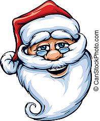 het glimlachen, claus, kerstman, gezicht