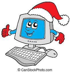 het glimlachen, computer, kerstmis