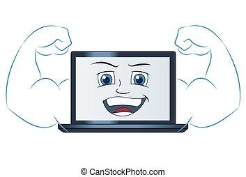 het glimlachen, computer, machtig, draagbare computer