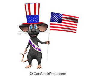 het glimlachen, da, vieren, 4, onafhankelijkheid, juli, muis, of, spotprent