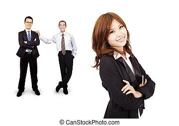 het glimlachen, en, zeker, aziaat handel, vrouw, en, succes, handel team