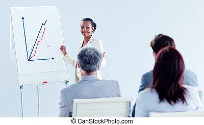het glimlachen, ethnische , businesswoman, doen, een, presentatie