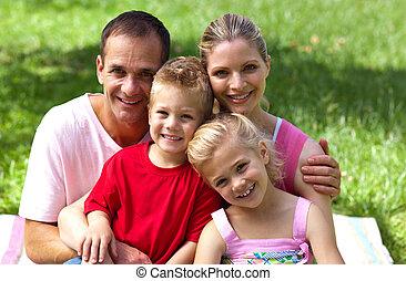 het glimlachen, fototoestel, close-up, gezin, vrolijke