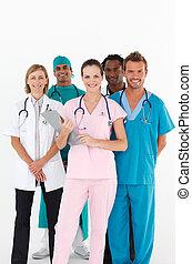 het glimlachen, fototoestel, groep, vriendelijk, artsen