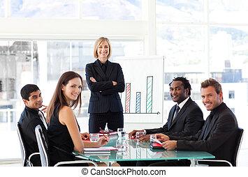 het glimlachen, fototoestel, vergadering, handel team