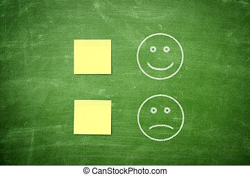 het glimlachen gezicht, positief, en, negatief, terugkoppeling