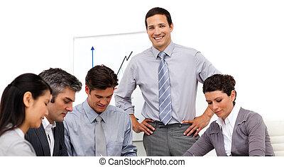 het glimlachen, handel team, werkende , in, th