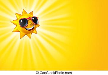 het glimlachen, heet geel, zon, met, stralen
