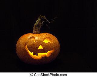 het glimlachen, hoofd, gemaakt, van, pumpkin.
