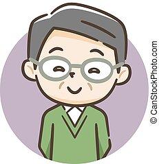 het glimlachen, illustratie, oudere man