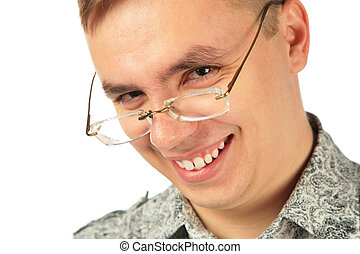 het glimlachen, jonge man, in, bril