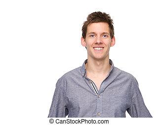 het glimlachen, jonge man, kijken naar van fototoestel