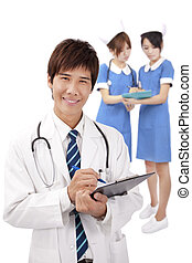het glimlachen, jonge, medische arts, en, verpleegkundigen