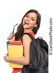 het glimlachen, jonge, student, het bijten, glasses., vrolijke , jong meisje, vasthouden, boekjes