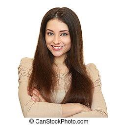 het glimlachen, jonge vrouw , het kijken, vrolijke , vrijstaand, op wit, achtergrond