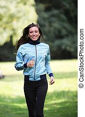 het glimlachen, jonge vrouw , in, sporten