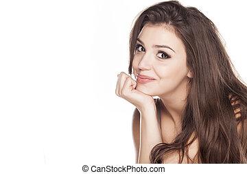 het glimlachen, jonge vrouw , op wit, achtergrond