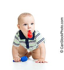 het glimlachen, jongen, baby met, muzikalisch, toys., vrijstaand, op wit, achtergrond