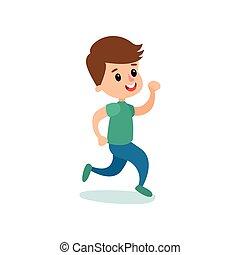het glimlachen, jongetje, karakter, rennende , geitjes, lichamelijke activiteit, spotprent, vector, illustratie