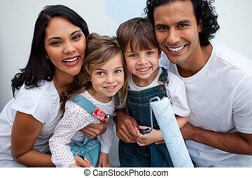 het glimlachen, kinderen, schilderij, een, kamer, met, hun, ouders