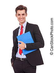 het glimlachen, klembord, jonge, zakenmens