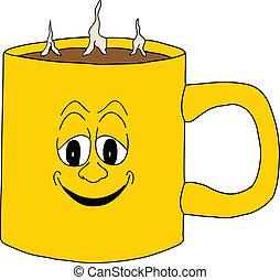 het glimlachen, koffiekop