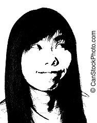 het glimlachen, komisch, vrouw, aziatisch gezicht