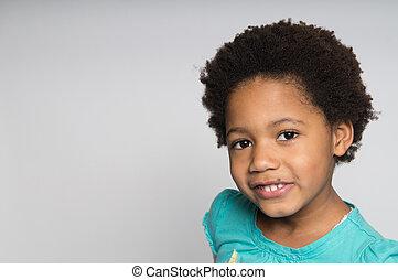 het glimlachen meisje, afrikaans-amerikaan