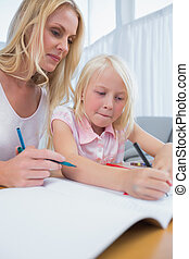 het glimlachen, moeder en dochter, tekening, samen