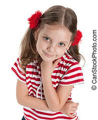 het glimlachen, mooi, preschool, meisje