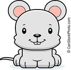 het glimlachen, muis, spotprent