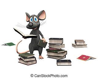 het glimlachen, muis, vasthouden, book., spotprent