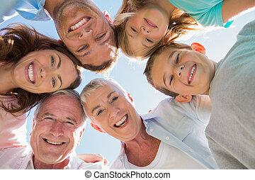 het glimlachen, multi, generatie, gezin