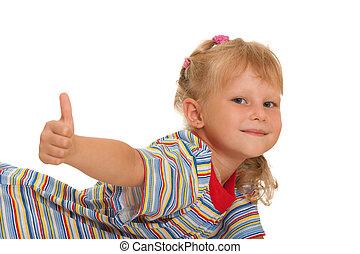 het glimlachen, op, meisje, duim