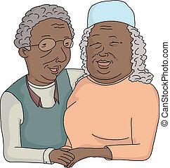 het glimlachen, paar, bejaarden, spotprent