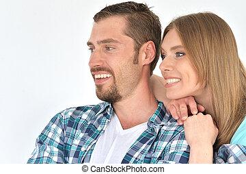 het glimlachen, paar, vrolijke