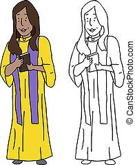 het glimlachen, priester, vrouwlijk