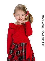 het glimlachen, schattige, klein meisje