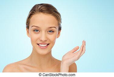 het glimlachen, schouders, vrouw, jonge, gezicht