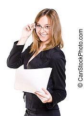 het glimlachen, secretaresse