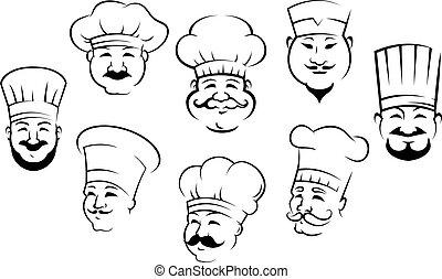 het glimlachen, set, hoofden, chef-koks