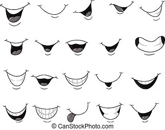 het glimlachen, set, mond, spotprent