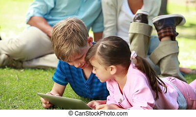 het glimlachen, siblings, gebruik, een, ebook, terwijl, het liggen