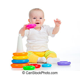 het glimlachen, speelbal, vrijstaand, baby, witte , spelend
