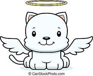 het glimlachen, spotprent, engel, katje