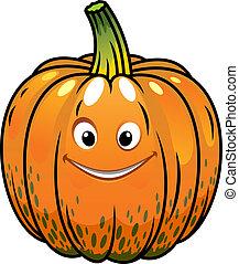 het glimlachen, spotprent, herfst, pompoen