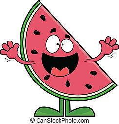 het glimlachen, spotprent, watermeloen