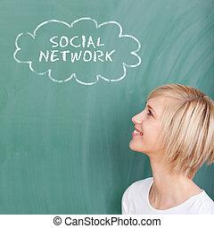 het glimlachen, student, denken, van, sociaal, netwerk
