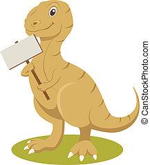 het glimlachen, t-rex, meldingsbord