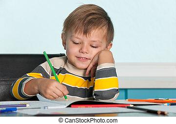 het glimlachen, tekening, jongetje
